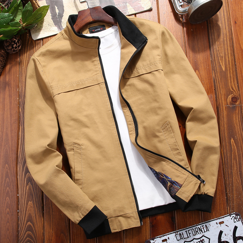 2020 New Products Men Pure Cotton Stand Collar Jacket Youth Autumn Thin Casual Versitile Fashion Handsome Jacket
