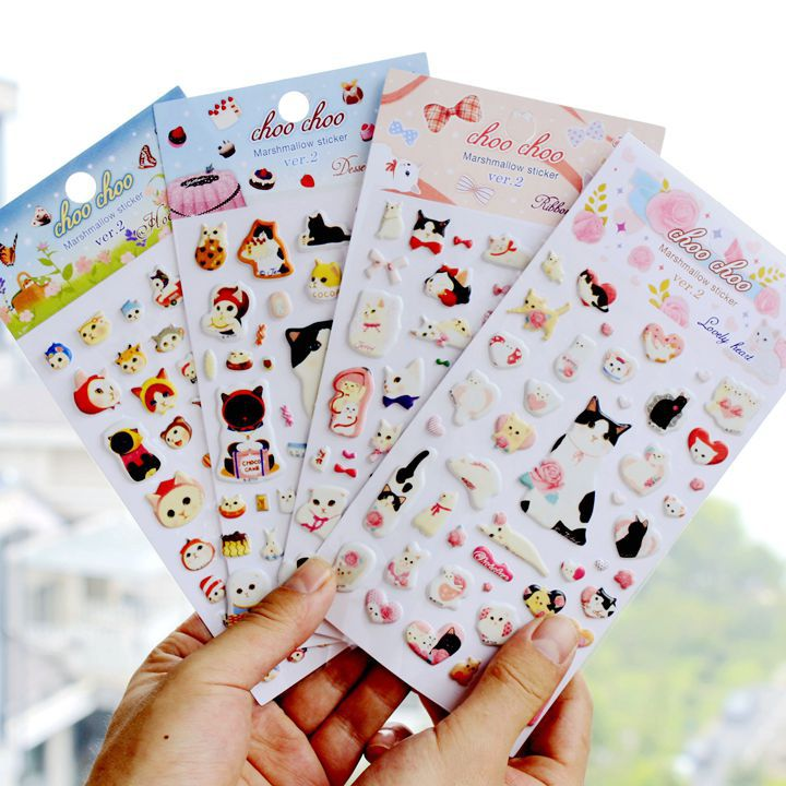 4 Pcs/lot Originality Cat Modeling Series 3D Decorative Stickers Adhesive Stickers DIY Decoration Diary Stickers