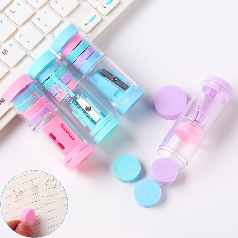 Candy Color Mini Pencil Sharpener And Eraser Creative Color Rubber Eraser For Kids Prizes School Office Supply Korean Stationery