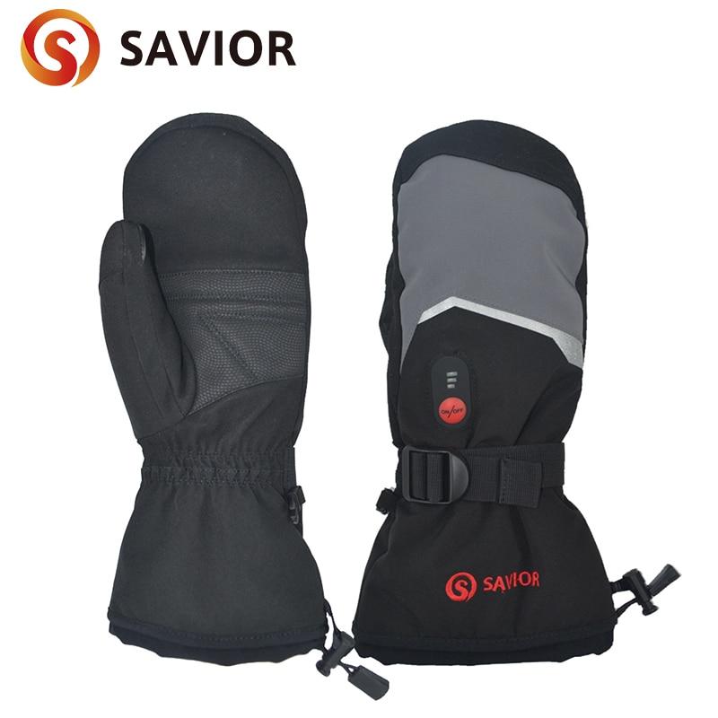 Savior Full finger Heated Gloves Mittens Touch Screen Waterproof Windproof Battery Heating Mitten Gloves Mens Womens Warm Winter