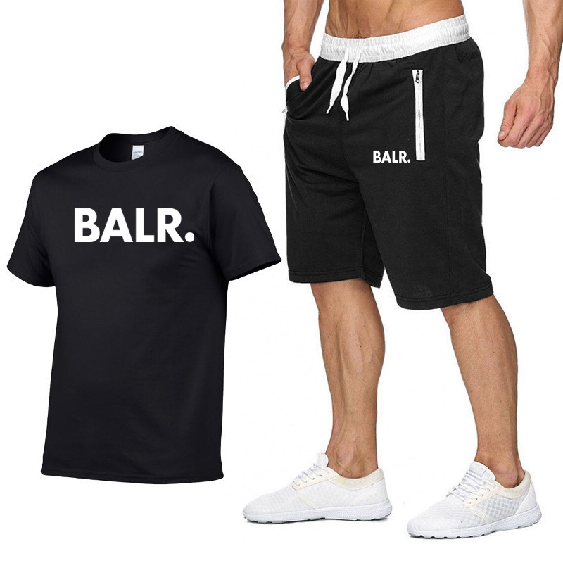 New BALR Men Two Pieces Sets T Shirts+Shorts Suit Short Sleev Tees Fashion T Shirt Sets High Quality Cotton Men Clothes Summer