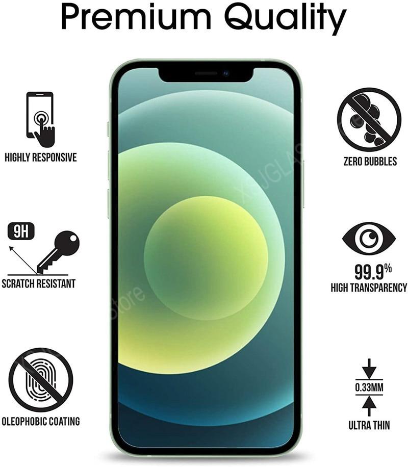 3 pezzi di vetro protettivo per iPhone 11 12 Mini Pro Max protezione dello schermo in vetro temperato per iPhone 6 S 7 8 Plus X XR XS Max vetro 2