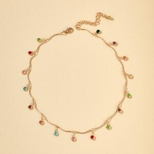 Tocona Böhmischen Bunte Kristall Stein Halsband Halskette für Frauen Gold Legierung Metall Charme Handgemachte Kette Schmuck Halsbänder 8877