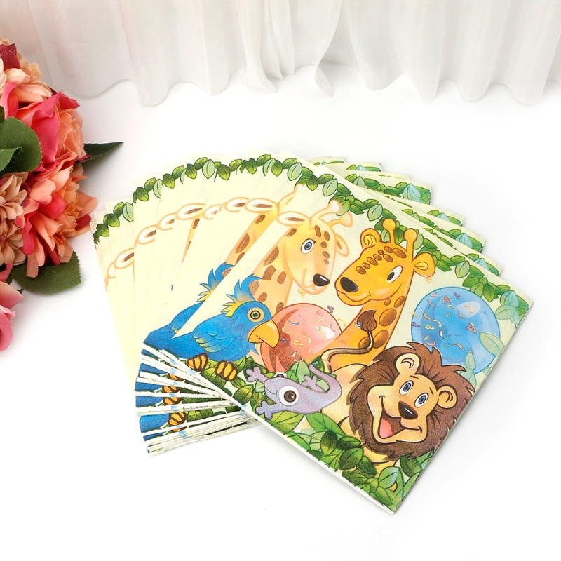 King Lion Jungle Animal Design Cute Pattern Napkin Tissue For Birthday Party
