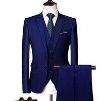 Однотонные мужские формальные костюмы Модный деловой Повседневный Банкетный мужской костюм пиджак + жилет + брюки размер 6XL 2/3 шт костюмы дл...