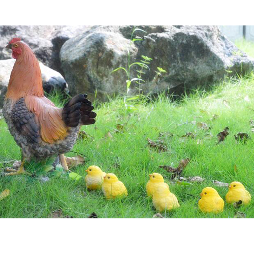 Outdoor Resin Animals Statue Chicken Family Ornament Figurine Yard Decor Artificial Chicken Figure Garden Home Decoration