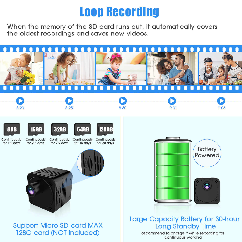 كاميرا صغيرة بدقة 4K مزودة بخاصية WiFi كاميرا فيديو لاسلكية ذكية مزودة بخاصية IP نقطة اتصال HD كاميرا صغيرة مزودة بخاصية كشف الحركة كاميرا فيديو صغيرة للرؤية الليلية Espia