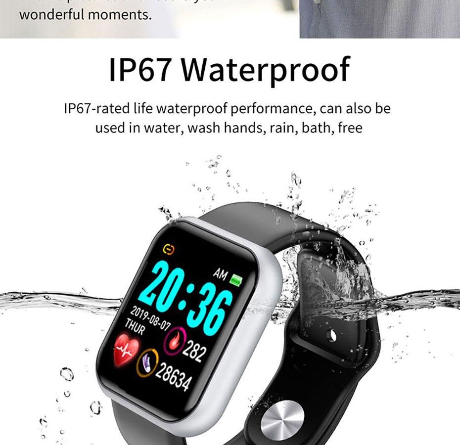 Lesfit Y68 Bluetooth Waterproof Digital Smart Watches Men Women Kids Smart Wristband Clock HR/BP Rate Smartwatch Fitness Tracker