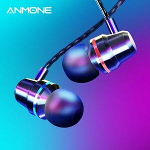 Image 1 - ANMONE السلكية سماعات سماعات 3.5 مللي متر في الأذن سماعة الرياضة سماعة مع مايكروفون باس ستيريو سماعة آيفون 7 11 برو شاومي