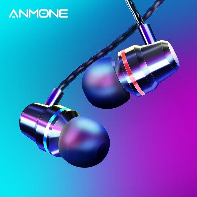 ANMONE السلكية سماعات سماعات 3.5 مللي متر في الأذن سماعة الرياضة سماعة مع مايكروفون باس ستيريو سماعة آيفون 7 11 برو شاومي
