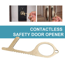5Pcs Portable No Touch Safe Open Door Assistant Anti Elevator Button Safety Protection Isolation Brass Key Door Opener