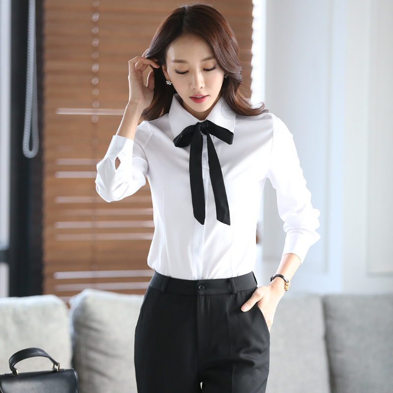 New Autumn White Shirt Women Blouse Long Sleeve Slim Work Blouse Plus Size Shirts Women's Office Casual Blouses Fashion Bow Tops