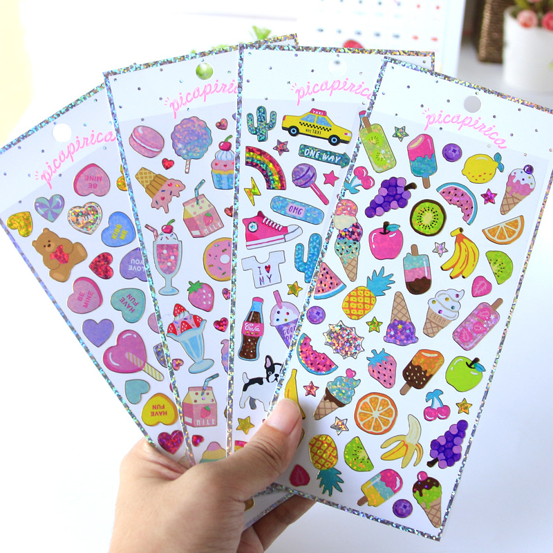 Food Animal Cute Laser Decorative Stationery Stickers Scrapbooking DIY Diary Album Stick Lable