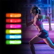 Купить с кэшбэком Outdoor Sports Night Running Light Safety Jogging Led Arm Leg Warning Portable Wristband Riding Bike Bicycle Party Glowing Band