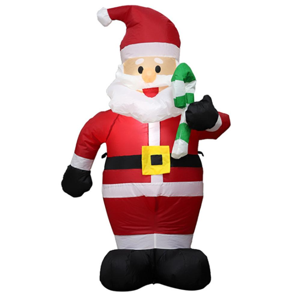 2020 New Arrival Christmas Santa Clause Inflatable Gingerbread Snow Man Held A Candy Stick LED Home Outdoor Garden Decoration