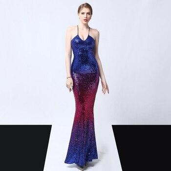 Strap sexy evening dress skirt female banquet nightclub host sequins annual meeting fishtail noble temptation long dress skirt