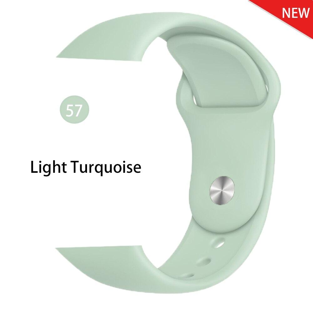 Ремешок для Apple Watch 38 мм 42 мм iWatch 4 ремешка 44 мм 40 мм спортивный силиконовый ремень браслет Apple watch 5 4 3 2 Аксессуары для ремешка - Цвет ремешка: Light Turquoise