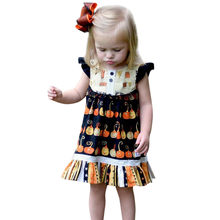 Halloween Festival baby dress Toddler Kids Baby Girl Halloween Pumpkin printing Dress Outfits Costume multicolor(China)