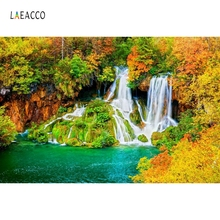 Laeacco Autumn Forest Trees Waterfall Landscape Photography Background Vinyl Seamless Digital Backdrops Props For Photo Studio white snow forest trees photo studio photography backdrops vinyl foto background