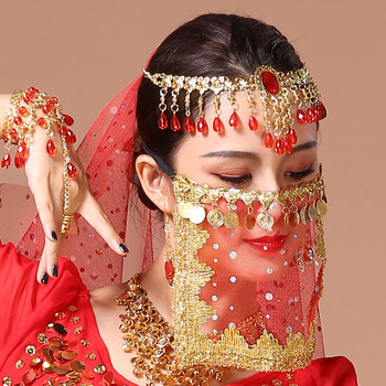 New arrival dance mask belly dance veil Indian dance golden coins breathable comfortable mesh veil dance performance accessories indian princess belly dance tulle feather party mask