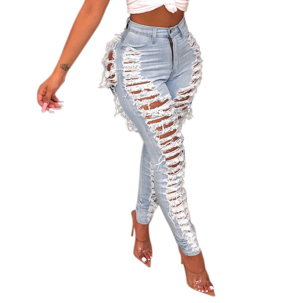 Sexy Womens Pencil Pants Stretch Jeans Hole Button Zipper Pocket Trousers Elastic Casual Denim Slim Tight Calca Feminina#EQ 1
