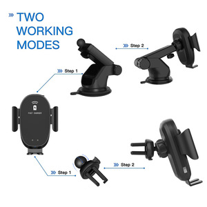 Image 4 - Automatic Clamping Car Mount Qi Wireless Charger For iPhone XS XR X 8 10W Fast Charging Phone Holder Stand for Samsung S10 S9 S8