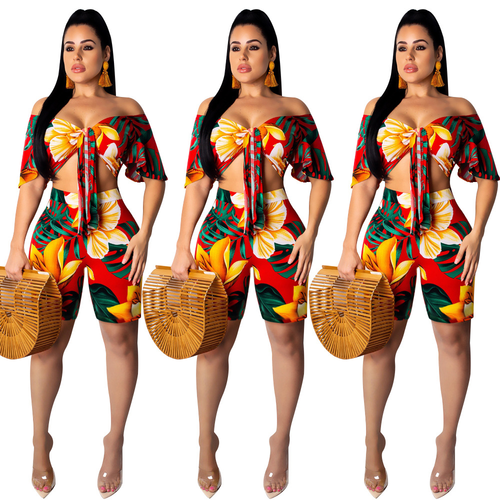 2020 Summer New Style Europe And America Sexy Bandage Cloth Off-Shoulder Casual Two-Piece Set S1080