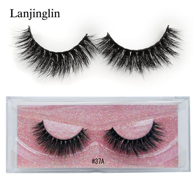 LANJINGLIN 1 pairs mink lashes 100% Cruelty free handmade natural long false eyelashes fluffy soft fake lash extension makeup 3