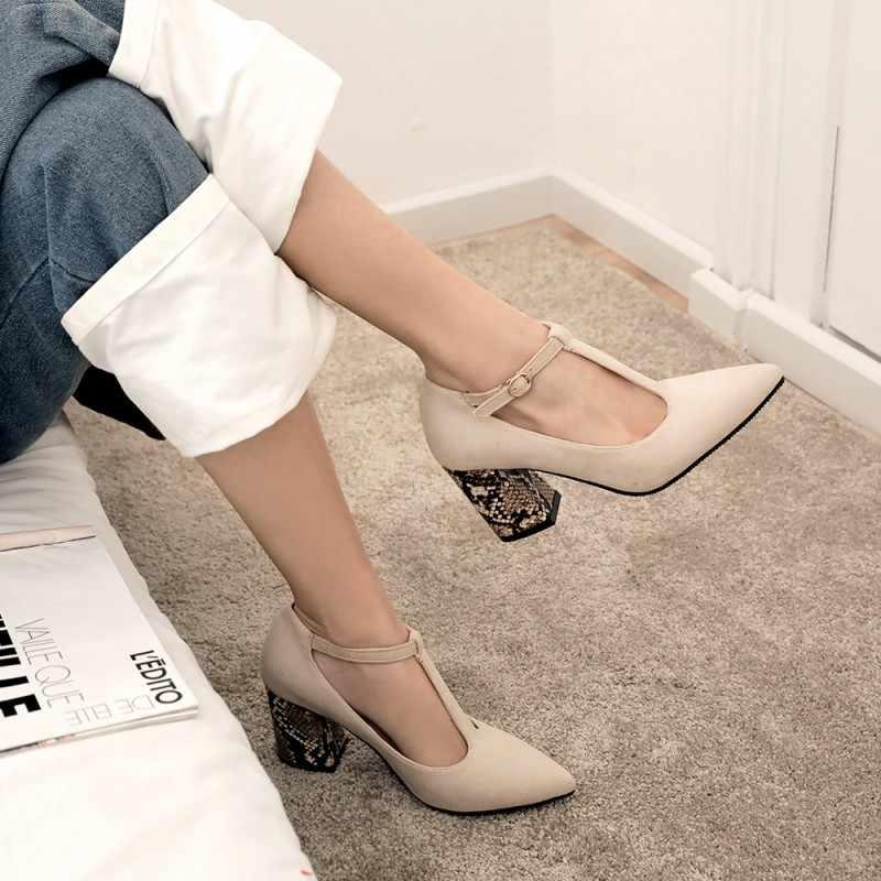Bayanlar yüksek topuklu kalın topuk kadın ayakkabı kadın pompaları büyük boy büyük boy ila 28cm tanga toka ayakkabı kadınlar için