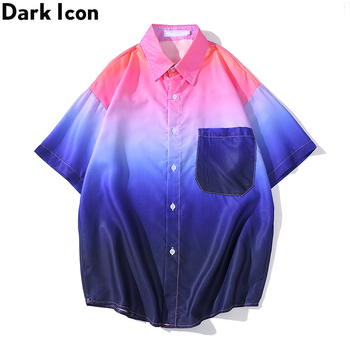 Dark Icon Curved Hem Tie Dye Shirt Men Turn-down Collar Men's Shirts Short Sleeve pocket patched plaid curved hem shirt dress