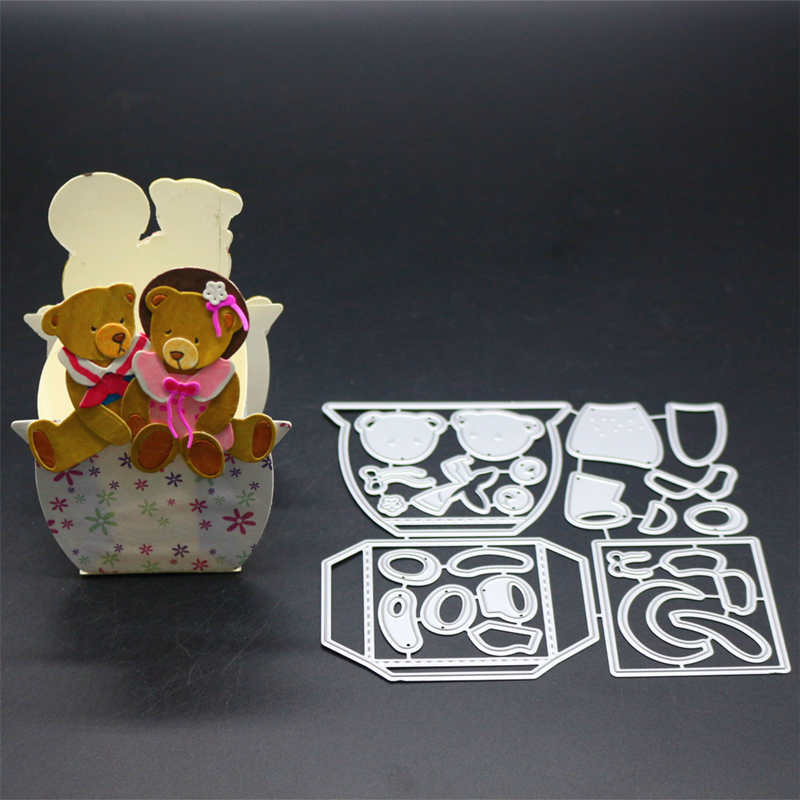YINISE Metal Cutting Dies For Scrapbooking Stencils Bear Package DIY Paper Album Cards Making Embossing Folder Die Cuts CUT Mold