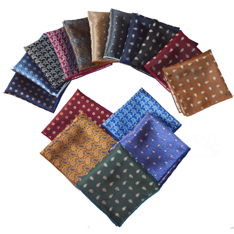 Vintage Men British Design Floral Print Pocket Square Handkerchief Wedding Polyester Chest Pocket Square Towel Suit Accessories