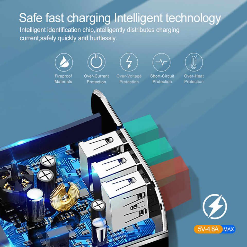 Buen cargador USB de 3 puertos carga rápida 3,0 para IPhone X 7 Samsung Huawei P30 Xiaomi 5V 3A UE US enchufe adaptador de carga de teléfono móvil