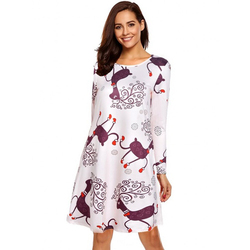 S-5XL Plus Size Christmas Day O Neck Long Sleeve Deer Snow Man Print Dress Women Clothes Casual Loose Knee Length Party Dresses 2
