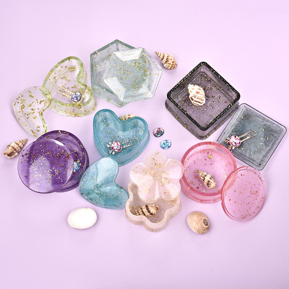 Resin Silicone Mold Mold-Storage-Box Jewelry-Tools Epoxy Crystal Uv-Gift-Box DIY Heart-Shape