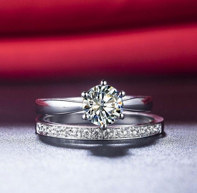 En gros NSCD synthétique Gem anneau ensemble pour les femmes 2CT 925 en argent Sterling blanc or couleur fiançailles ensemble de mariage