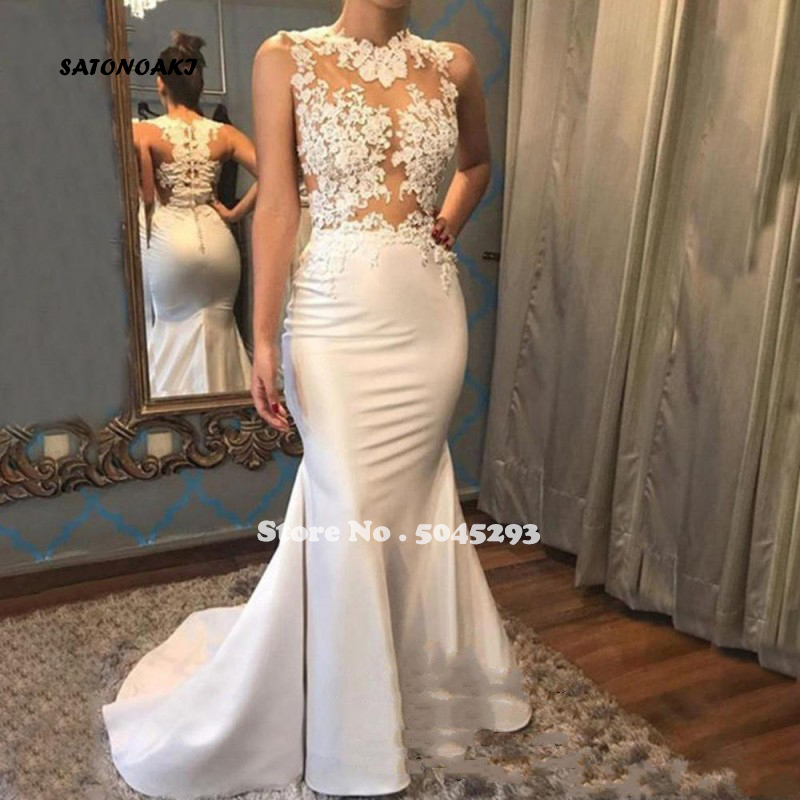 SATONOAKI Sheer Lace Appliques Mermaid Wedding Dresses High Neck Button Back Sexy See Through Bridal Dresses Vestido De Noiva