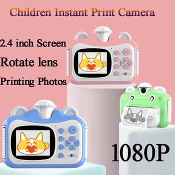 Children Birthday Gifts Instant Print Camera 1080P HD Digital With Thermal Photo Paper Cute Cartoon Toys For Kids - discount item  42% OFF Camera & Photo