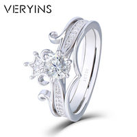 Veryins Crown Shaped 18K 750 White Gold 0.5ct DEF Color Moissanite Engagement Ring Bridal Set for Women Wedding Gift