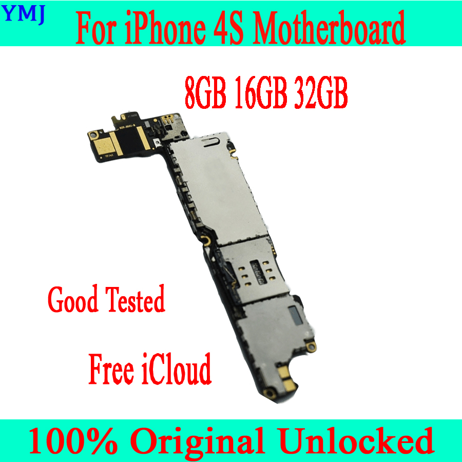 Galleria fotografica 100% Original unlocked for iphone 4S Motherboard with IOS System,Free iCloud for iphone 4S Mainboard+Full Chips,8GB 16GB 32GB