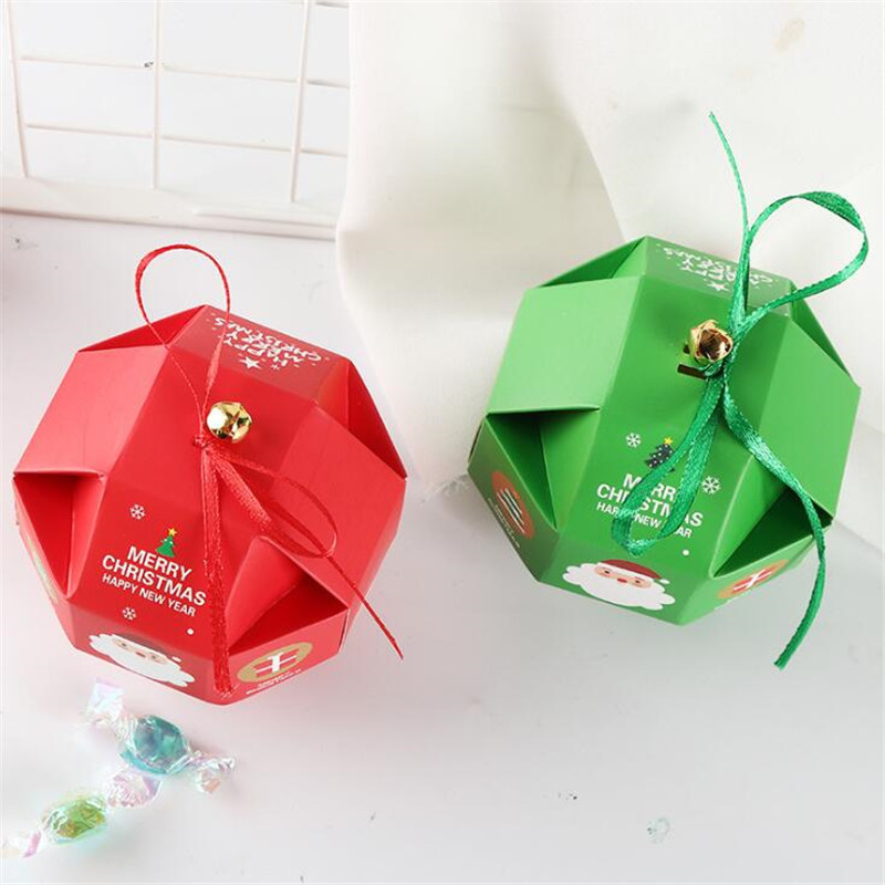 20Pcs/Lot Jewelry Boxes And Packaging Candy Box Wedding Gift Santa Claus With Ribbon Bell Birthday Christmas Decorations Present - 4
