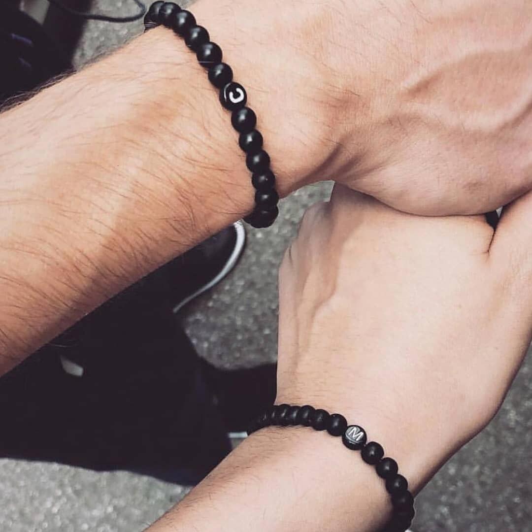 Letter Bracelets for Men Women Couple Handmade A-Z Letters 6mm matte onyx Beads Bracelets Custom Boyfriends Girlfriends jewelry
