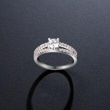 NJ New Elegant Women Lady Thin Small Rhinestone Crystal Rings Wedding Bride Engagement Jewelry Size 6-9