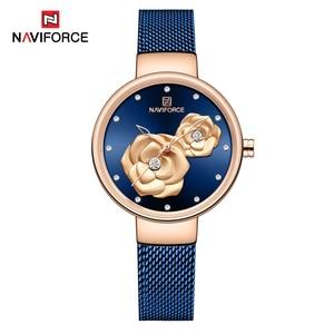 Image 3 - NAVIFORCE الأزرق جلدية ووتش النساء ساعات كوارتز السيدات عالية الجودة للماء ساعة اليد هدية ل زوجة 2019 Relogio Feminino
