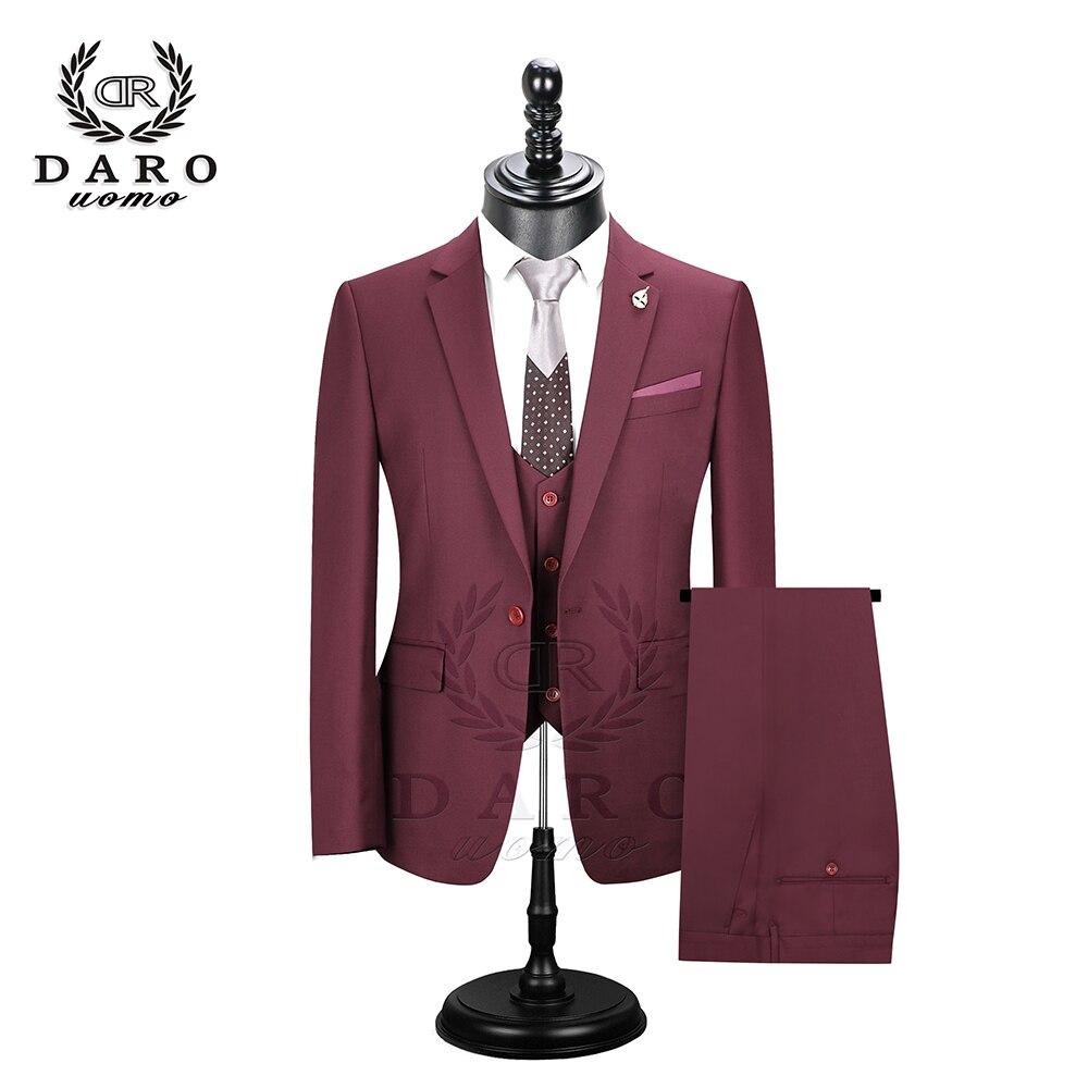 2019 Даро мужские костюмы Slim Fit пиджак брюки жилет для работы в деловом стиле и для свадьбы комплект из 3 предметов DR6158 - 4