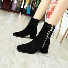 Martin boots women 2019 new all-around short boots women spring and autumn single shoes thick heel middle heel short boots women autumn and winter new arrivals boots female martin bootsshoes female kitten heel chunky heel shoes and ankle boots classi