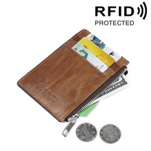 Card Wallet Men Anti-Magnetic Bank Card Holder RFID Photo Window Zipper Purse Bus Certificate Credit Card Sleeve Male gift
