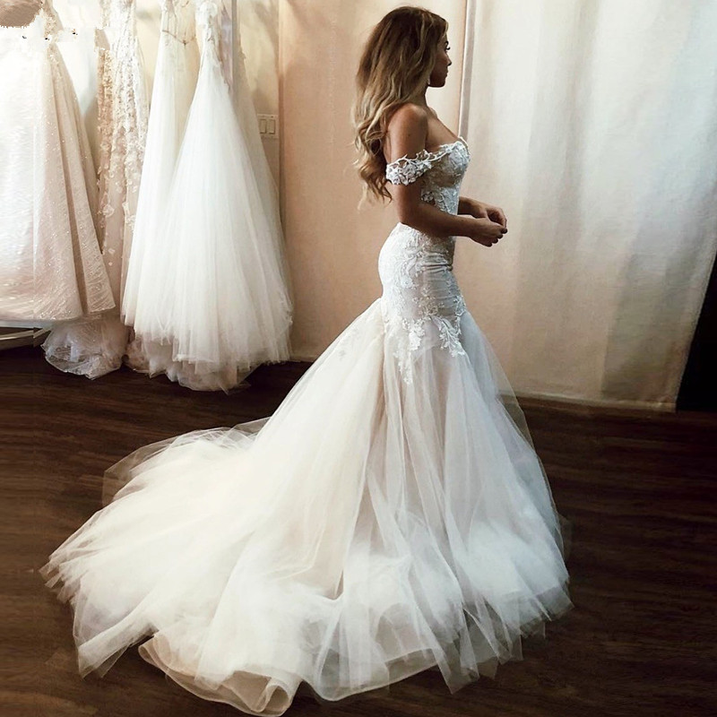 2020 Sexy Open Back Lace Wedding Dresses Mermaid Off the Shoulder Illusion Applique Tulle Court Train Bridal Dress Wedding Gowns