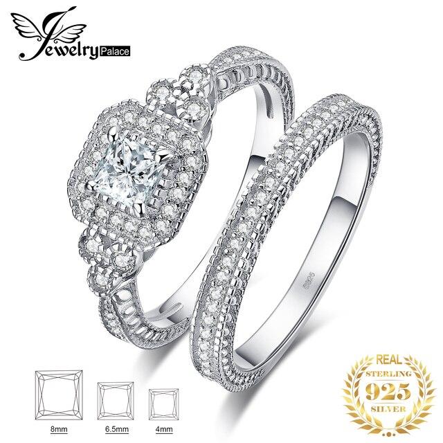 JPalace prenses Vintage nişan yüzüğü seti kadınlar için 925 ayar gümüş yüzük alyanslar gelin setleri gümüş 925 takı