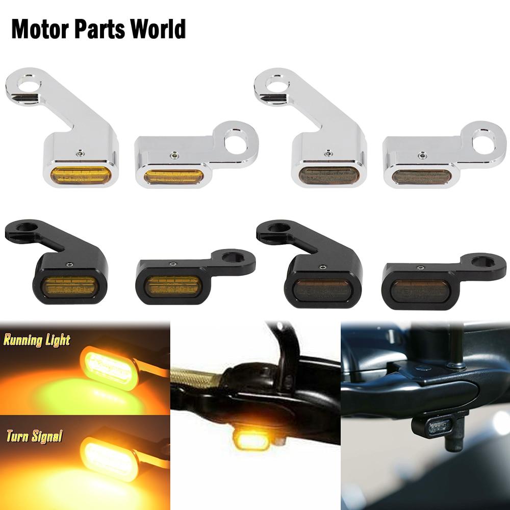 Motorcycle Amber LED Turn Signal Indicator Running Light Lamp Black/Chrome For Harley Softail 2015-2020 Touring FLHT FLTRX 09-17